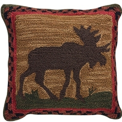 Moose Hooked Pillow