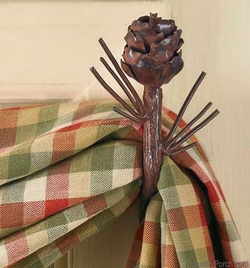 Pine Cone Curtain Hooks - Pair