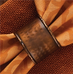 Hammered Copper Napkin Ring - Set of 2