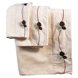 Embroidered Pine Cone Towel Set - IVORY