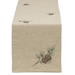 Pinecone Embroidered Table Runner
