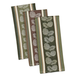 Pinecone Sprig Jacquard Dishtowel - Set of 3