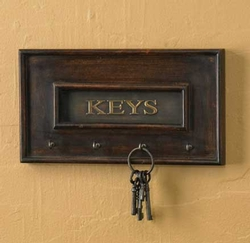 Wood/Brass Key Hook