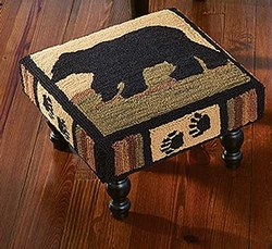 Adirondack Bear Hooked  Foot Stool
