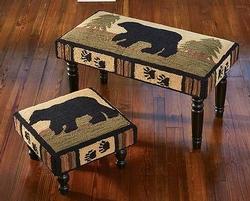 Adirondack Bear Hooked Bench