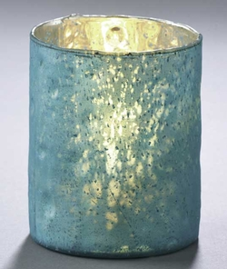 Metalic Glass Candleholder - Aqua