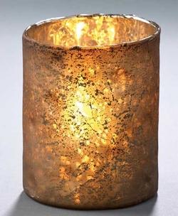 Metalic Glass Candleholder - Brown