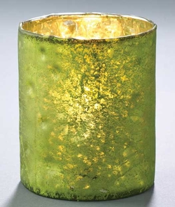 Metalic Glass Candleholder - Green