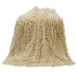 Mongolian Faux Fur Throw - Cream
