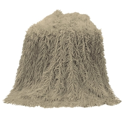 Mongolian Faux Fur Throw - Taupe