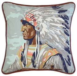 Indian Chief Canvas Pillow - 18