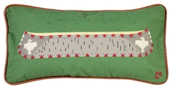 Canoe on Green Canvas Pillow