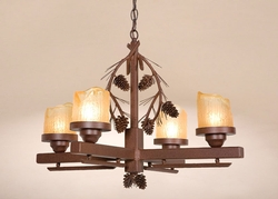 4 Arm Candlestick Pinecone Chandelier