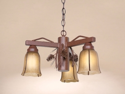 3 Arm Pinecone Pendant Light - Frontier Rust