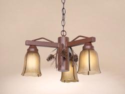 3 Arm Pinecone Pendant Light - Frontier Rust