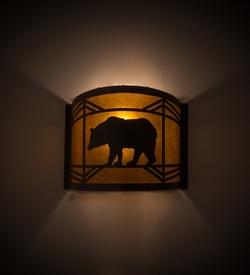 Lone Bear Rustic Wall Scone - 12