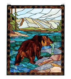 Grizzly Bear Stained Glass Window
