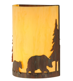 Pine Tree and Bear Wall Sconce