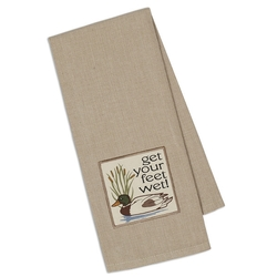 Get Your Feet Wet Embroidered Dish Towel