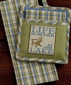 Life Is Better at the Lake Towel Pot Holder Set