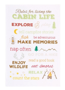 Rules for Living the Cabin Tea Towel