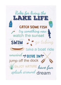 Rules for Living the Lake Life Dish Towel