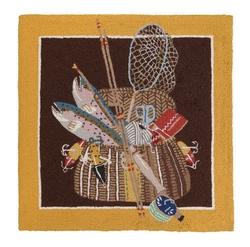 Fish Basket Creel Hooked Rug