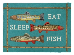 Eat, Sleep, Fish Hooked Rug