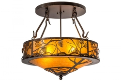Whispering Pine Inverted Semi Flush Pendant 24
