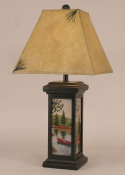 Canoe Scene Table Lamp - 28.5