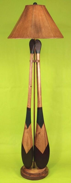 Canoe Paddle Floor Lamp - Green & Brown