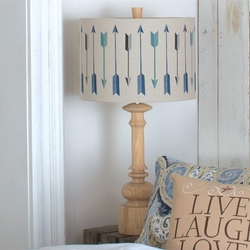 Wooden Table Lamp with Linen Arrow