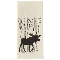 Moose & Birch Tree Dish Towel