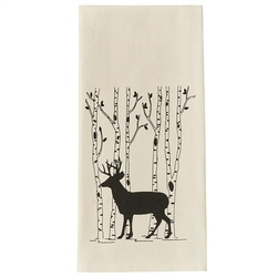 Deer & Birch Tree Dish Towel