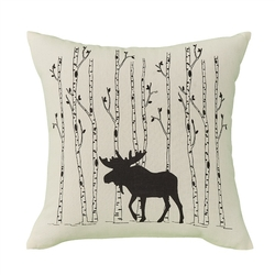 Moose & Birch Tree Pillow - 16