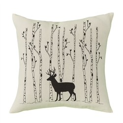 Deer & Brich Tree Pillow - 16