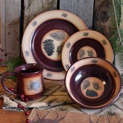 Red Lodge Pinecone Dinnerware & Cabin Rustic Lodge Decor Dinnerware | Dinnerware | Cabin 9 Design