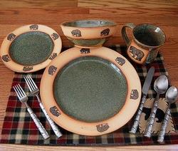 Rustic Fishing Bear Dinnerware & Cabin Rustic Lodge Decor Dinnerware | Dinnerware | Cabin 9 Design