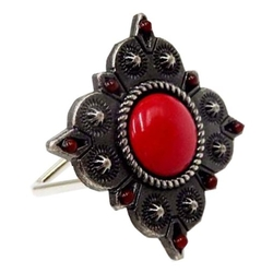 Stone Design Napkin Rings - Red